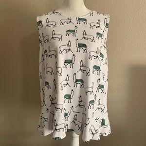 Ann Taylor Factory Llama Print Peplum Tank Top XL